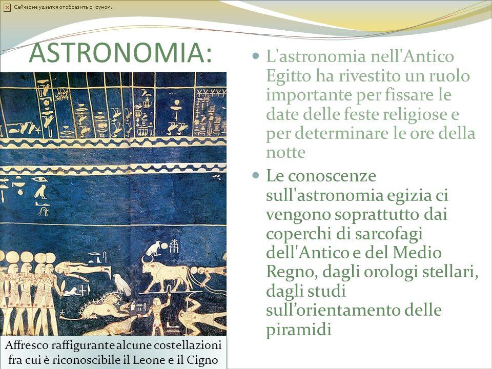ASTRONOMIA: L'astronomia nell'Antico Egitto ha rivestito un ruolo importante per fissare le date delle feste religiose e per determinare le ore della