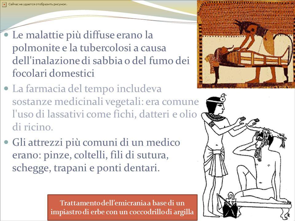 Le malattie più diffuse erano la polmonite e la tubercolosi a causa dell'inalazione di sabbia o del fumo dei focolari domestici La farmacia del tempo