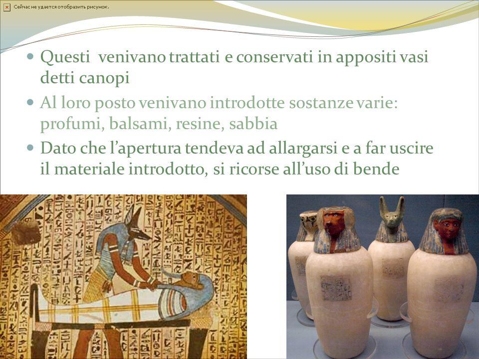 Questi venivano trattati e conservati in appositi vasi detti canopi Al loro posto venivano introdotte sostanze varie: profumi, balsami, resine, sabbia