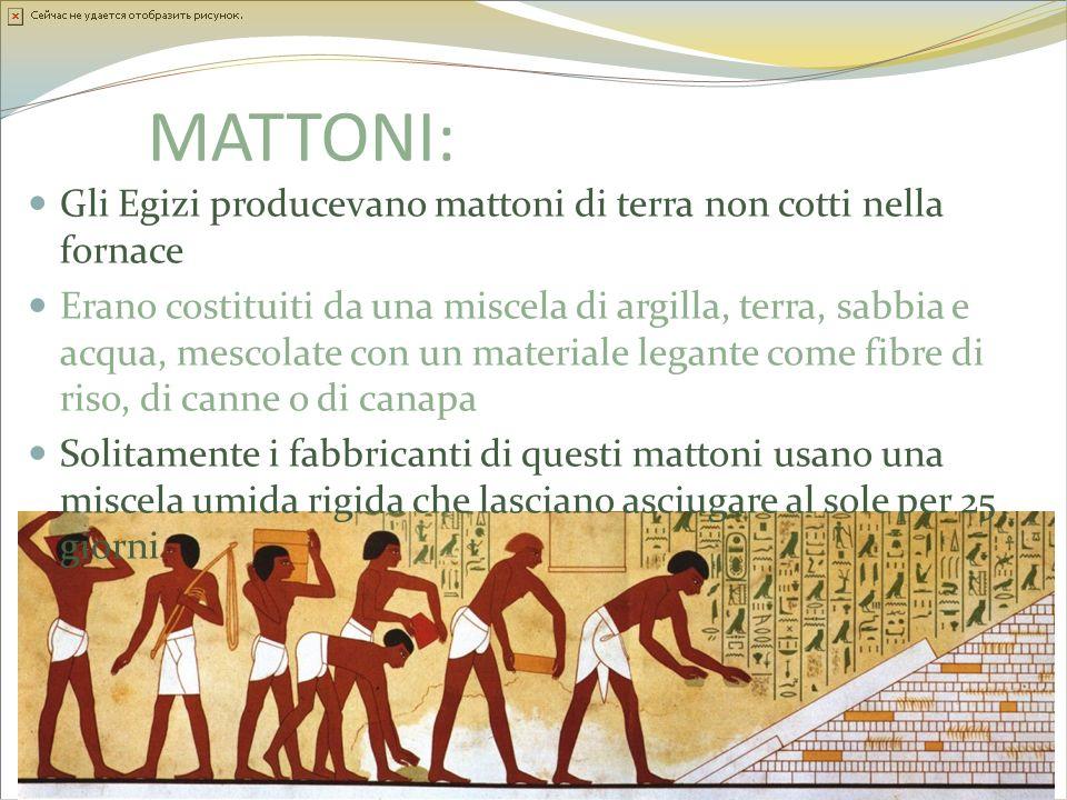 MATTONI: Gli Egizi producevano mattoni di terra non cotti nella fornace Erano costituiti da una miscela di argilla, terra, sabbia e acqua, mescolate c