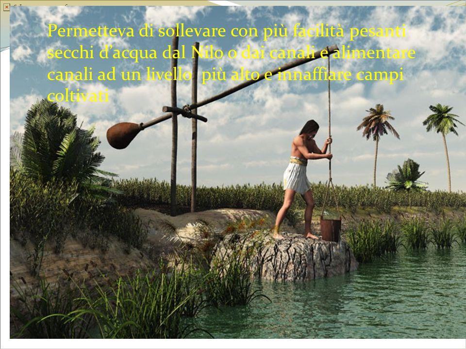 Permetteva di sollevare con più facilità pesanti secchi dacqua dal Nilo o dai canali e alimentare canali ad un livello più alto e innaffiare campi col