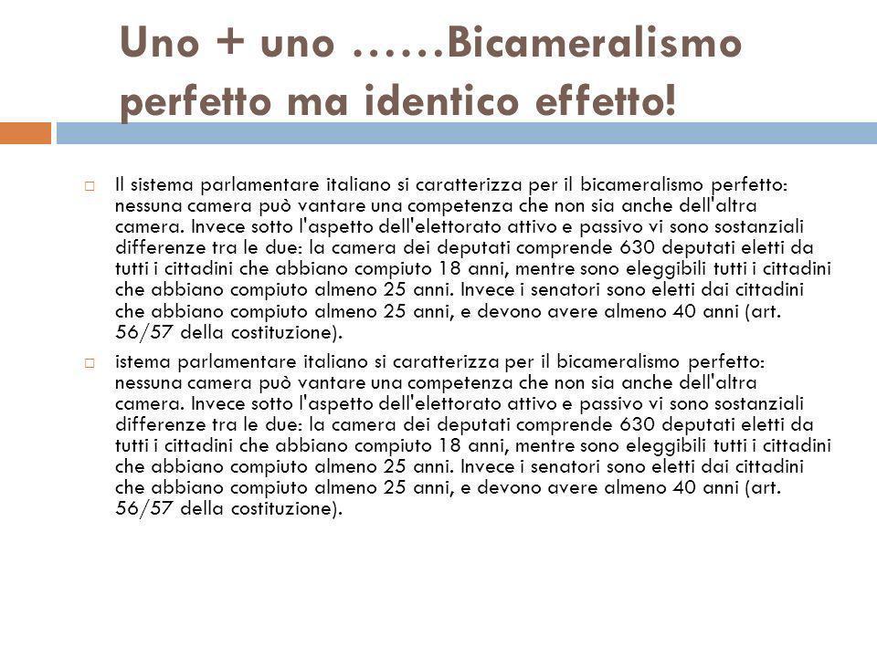 Uno + uno ……Bicameralismo perfetto ma identico effetto! Il sistema parlamentare italiano si caratterizza per il bicameralismo perfetto: nessuna camera