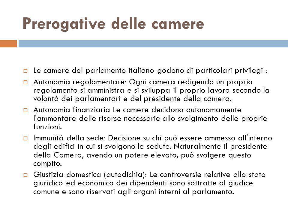 Prerogative delle camere Le camere del parlamento italiano godono di particolari privilegi : Autonomia regolamentare: Ogni camera redigendo un proprio