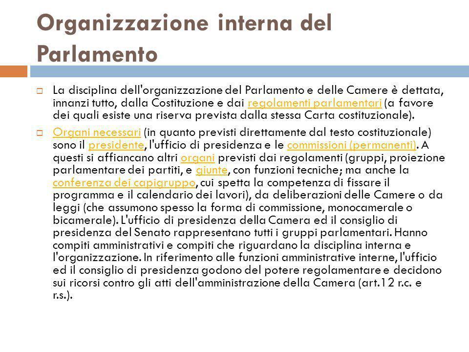 Organizzazione interna del Parlamento La disciplina dell'organizzazione del Parlamento e delle Camere è dettata, innanzi tutto, dalla Costituzione e d