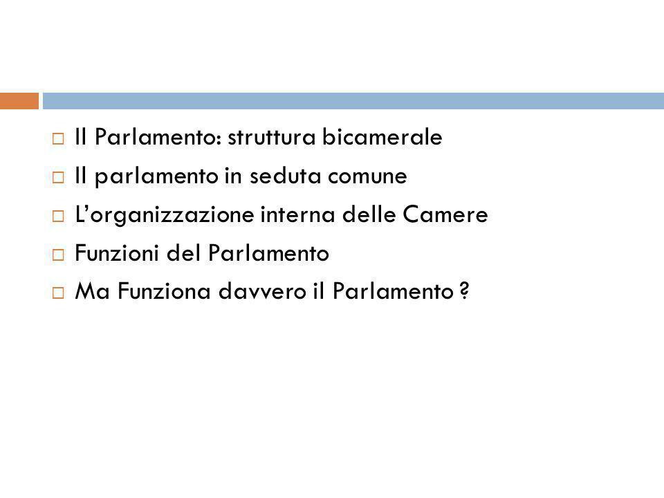 Il Parlamento: struttura bicamerale Il parlamento in seduta comune Lorganizzazione interna delle Camere Funzioni del Parlamento Ma Funziona davvero il
