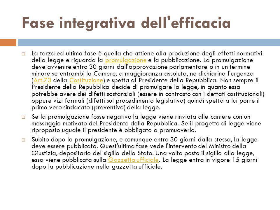 Fase integrativa dell'efficacia La terza ed ultima fase è quella che attiene alla produzione degli effetti normativi della legge e riguarda la promulg