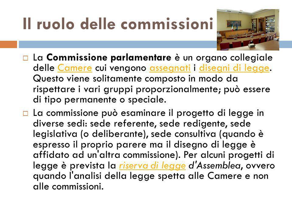 Il ruolo delle commissioni La Commissione parlamentare è un organo collegiale delle Camere cui vengono assegnati i disegni di legge. Questo viene soli