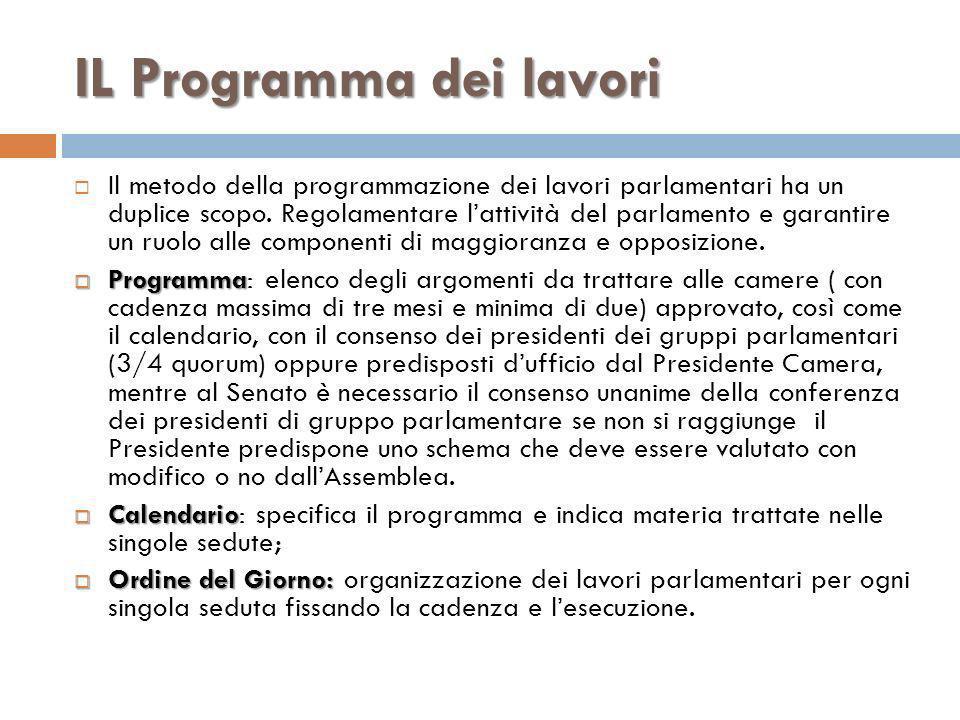 IL Programma dei lavori Il metodo della programmazione dei lavori parlamentari ha un duplice scopo. Regolamentare lattività del parlamento e garantire