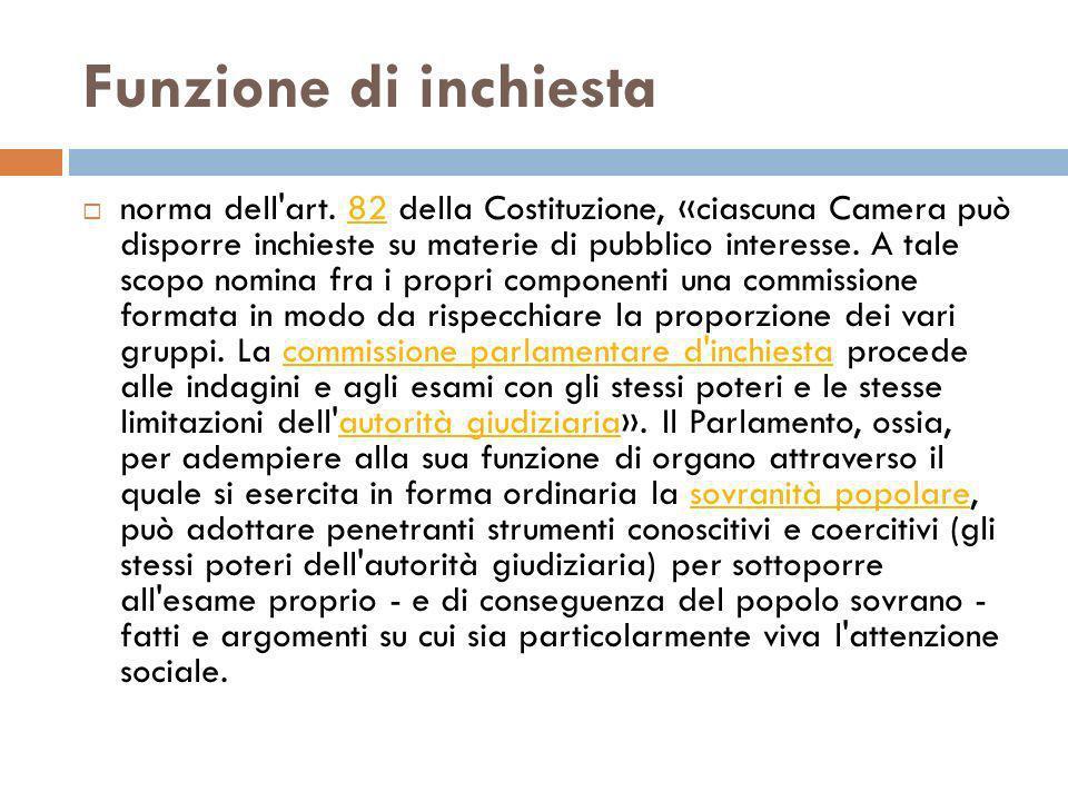 Funzione di inchiesta norma dell'art. 82 della Costituzione, «ciascuna Camera può disporre inchieste su materie di pubblico interesse. A tale scopo no