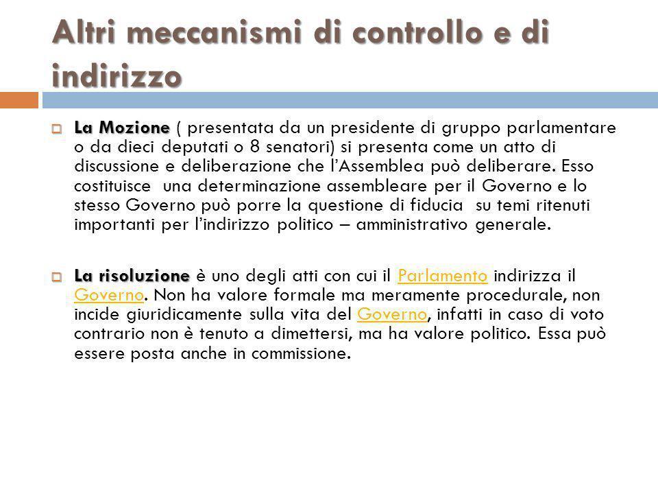 Altri meccanismi di controllo e di indirizzo La Mozione La Mozione ( presentata da un presidente di gruppo parlamentare o da dieci deputati o 8 senato