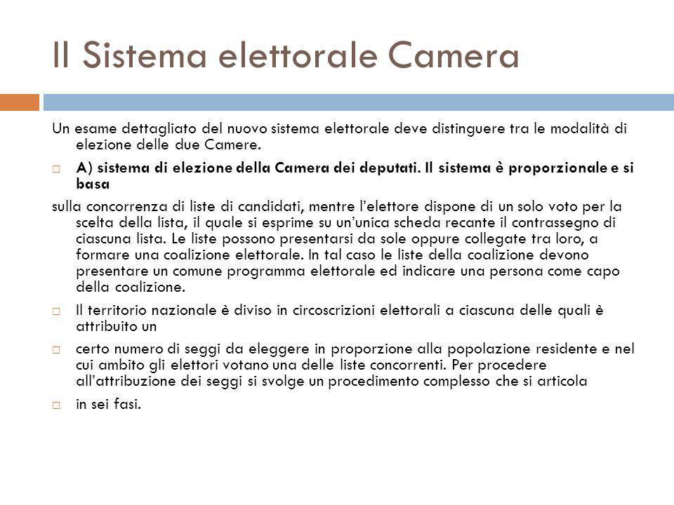 Il Sistema elettorale Camera Un esame dettagliato del nuovo sistema elettorale deve distinguere tra le modalità di elezione delle due Camere. A) siste