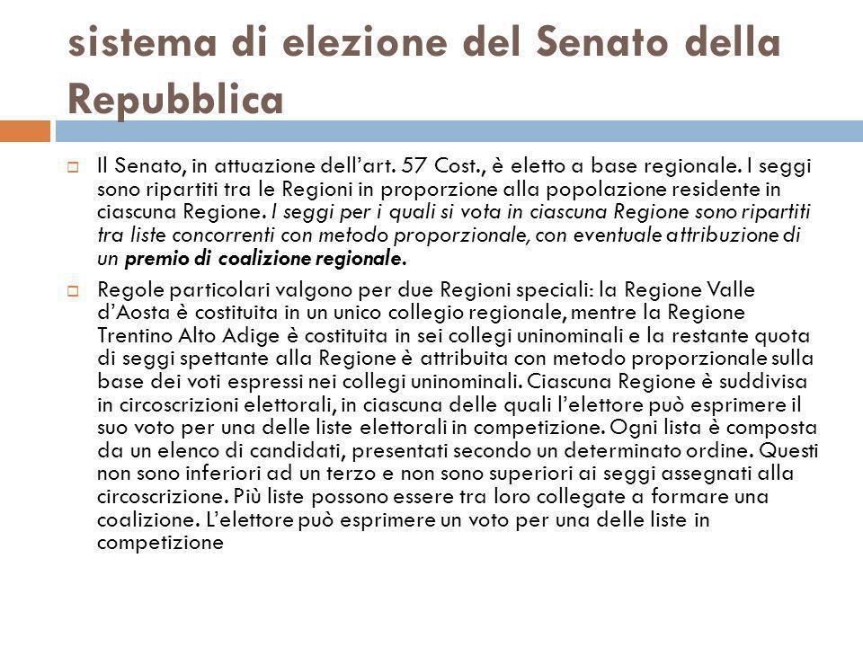 sistema di elezione del Senato della Repubblica Il Senato, in attuazione dellart. 57 Cost., è eletto a base regionale. I seggi sono ripartiti tra le R