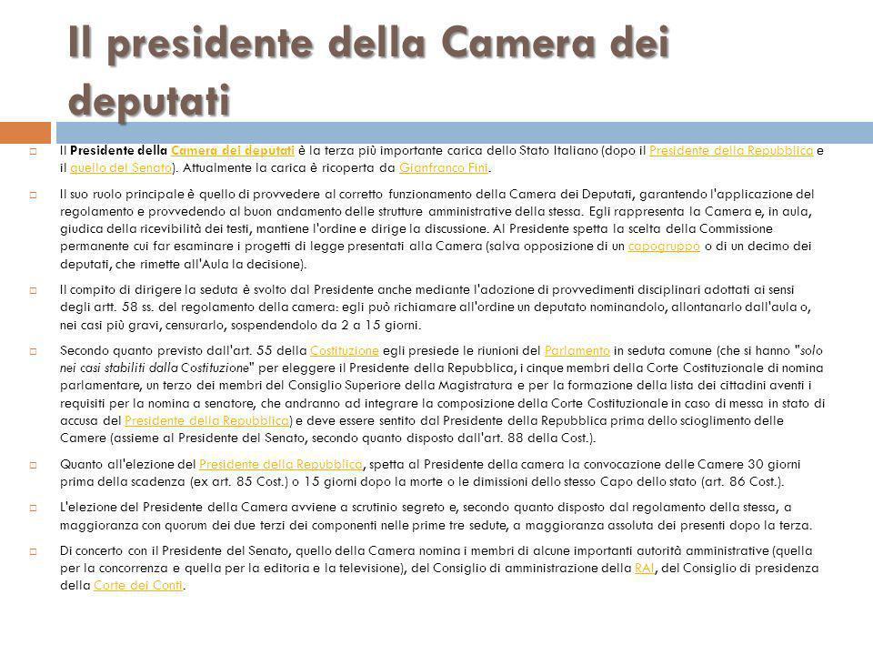 Il presidente della Camera dei deputati Il Presidente della Camera dei deputati è la terza più importante carica dello Stato Italiano (dopo il Preside