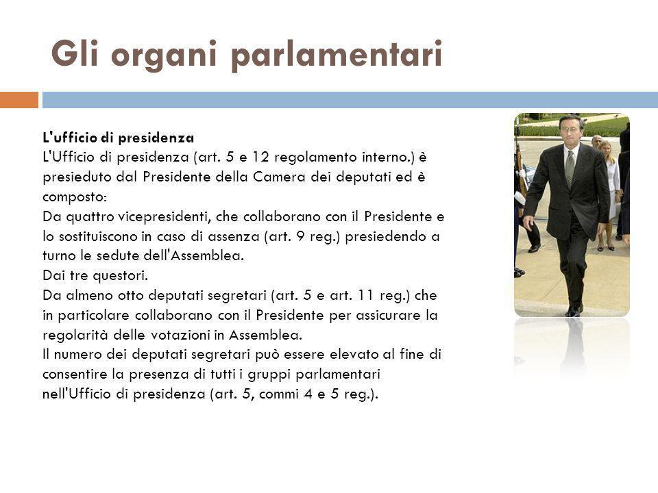 Gli organi parlamentari L'ufficio di presidenza L'Ufficio di presidenza (art. 5 e 12 regolamento interno.) è presieduto dal Presidente della Camera de