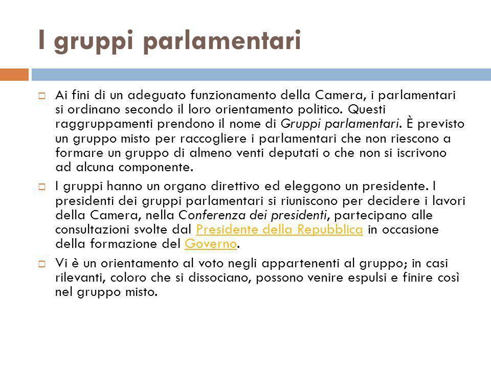 I gruppi parlamentari Ai fini di un adeguato funzionamento della Camera, i parlamentari si ordinano secondo il loro orientamento politico. Questi ragg