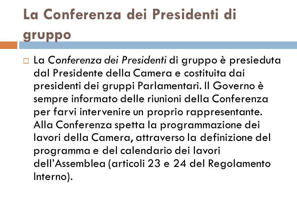 La Conferenza dei Presidenti di gruppo La Conferenza dei Presidenti di gruppo è presieduta dal Presidente della Camera e costituita dai presidenti dei