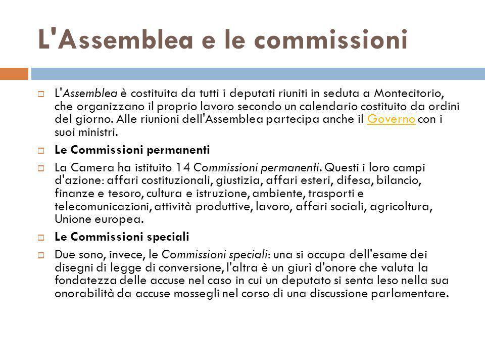 L'Assemblea e le commissioni L'Assemblea è costituita da tutti i deputati riuniti in seduta a Montecitorio, che organizzano il proprio lavoro secondo