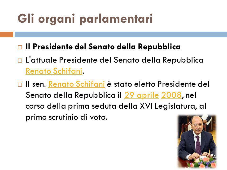 Gli organi parlamentari Il Presidente del Senato della Repubblica L'attuale Presidente del Senato della Repubblica Renato Schifani. Renato Schifani Il