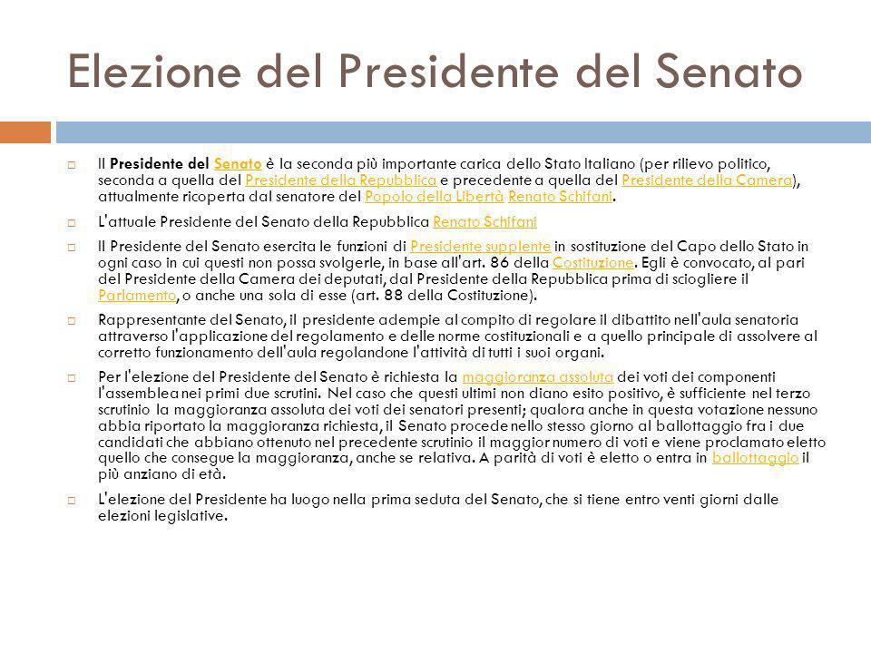Elezione del Presidente del Senato Il Presidente del Senato è la seconda più importante carica dello Stato Italiano (per rilievo politico, seconda a q