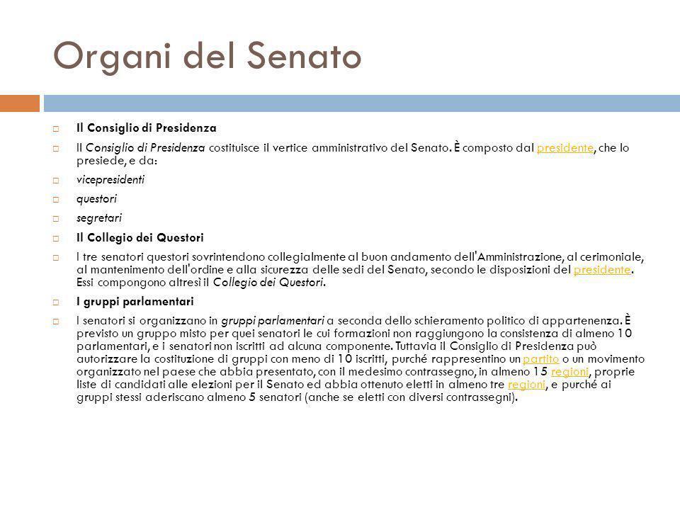 Organi del Senato Il Consiglio di Presidenza Il Consiglio di Presidenza costituisce il vertice amministrativo del Senato. È composto dal presidente, c