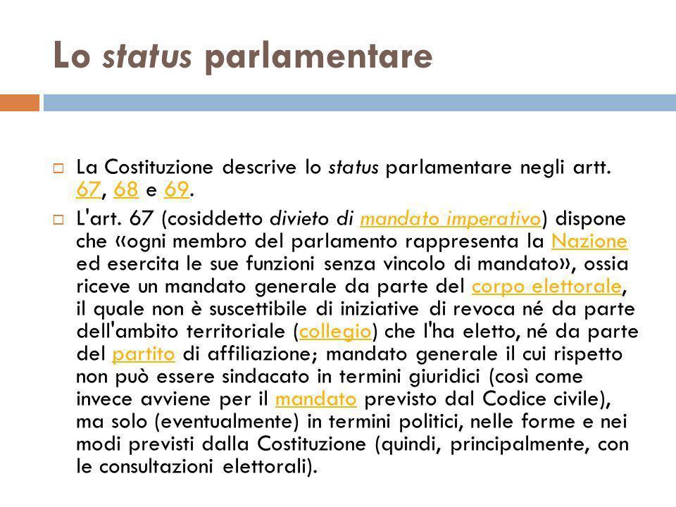 Lo status parlamentare La Costituzione descrive lo status parlamentare negli artt. 67, 68 e 69. 676869 L'art. 67 (cosiddetto divieto di mandato impera