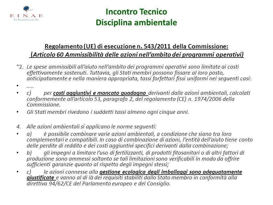 Incontro Tecnico Disciplina ambientale Regolamento (UE) di esecuzione n. 543/2011 della Commissione: (Articolo 60 Ammissibilità delle azioni nellambit