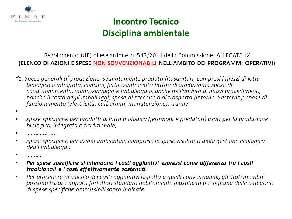 Incontro Tecnico Disciplina ambientale Regolamento (UE) di esecuzione n. 543/2011 della Commissione: ALLEGATO IX (ELENCO DI AZIONI E SPESE NON SOVVENZ