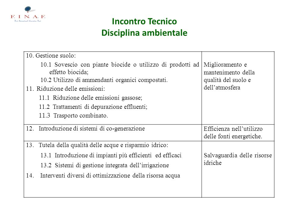 Incontro Tecnico Disciplina ambientale 10.