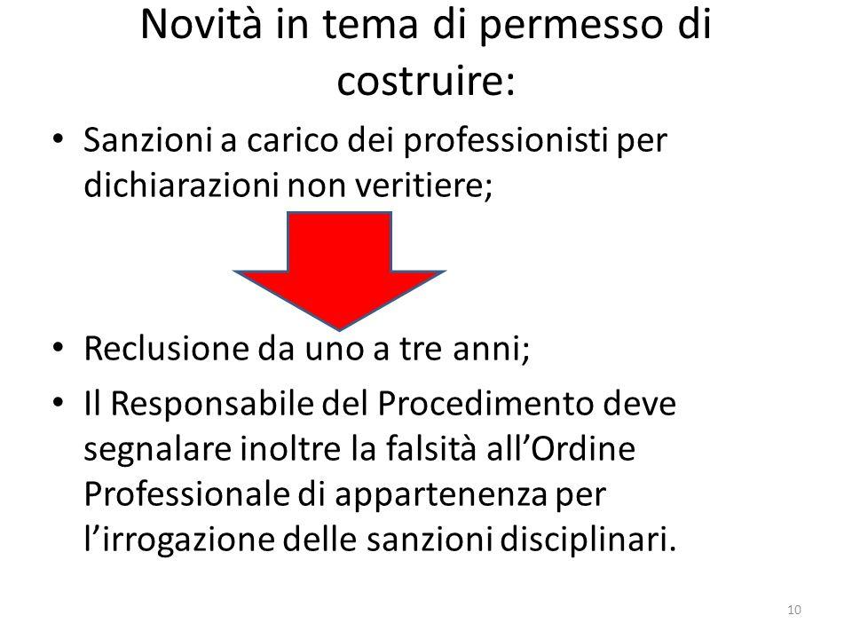 Novità in tema di permesso di costruire: Sanzioni a carico dei professionisti per dichiarazioni non veritiere; Reclusione da uno a tre anni; Il Respon