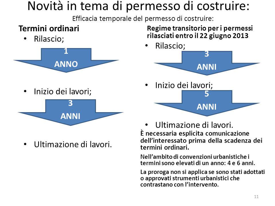 Novità in tema di permesso di costruire: Efficacia temporale del permesso di costruire: Rilascio; Inizio dei lavori; Ultimazione di lavori. 5 ANNI 3 A