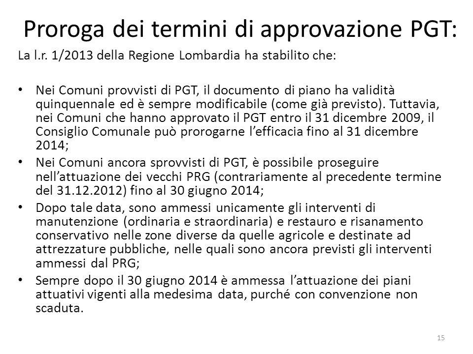 Proroga dei termini di approvazione PGT: La l.r. 1/2013 della Regione Lombardia ha stabilito che: Nei Comuni provvisti di PGT, il documento di piano h