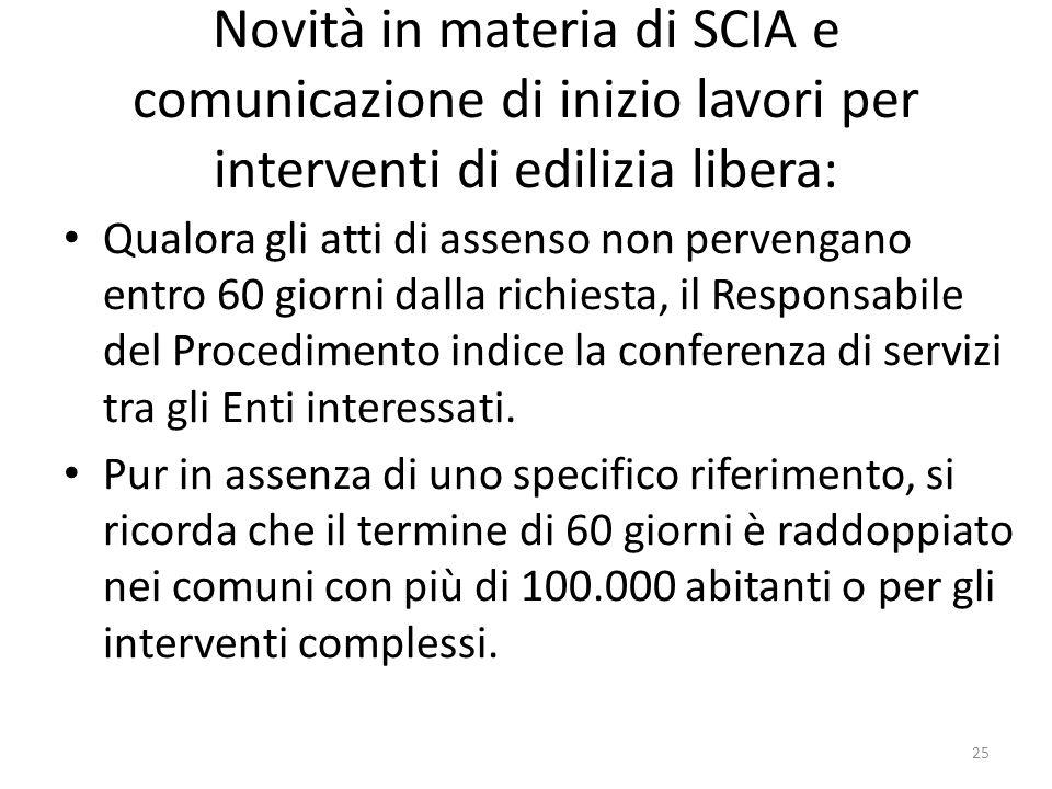 Novità in materia di SCIA e comunicazione di inizio lavori per interventi di edilizia libera: Qualora gli atti di assenso non pervengano entro 60 gior