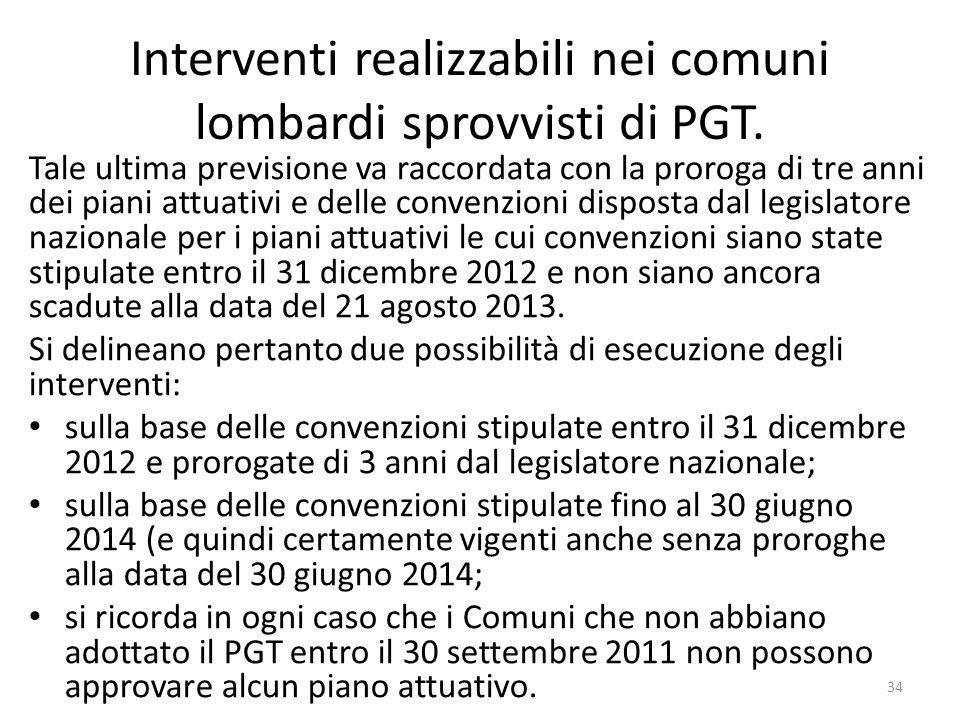 Interventi realizzabili nei comuni lombardi sprovvisti di PGT. Tale ultima previsione va raccordata con la proroga di tre anni dei piani attuativi e d