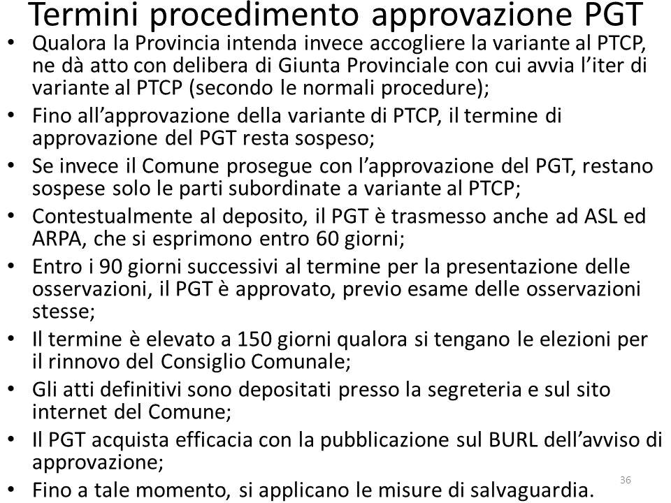 Termini procedimento approvazione PGT Qualora la Provincia intenda invece accogliere la variante al PTCP, ne dà atto con delibera di Giunta Provincial