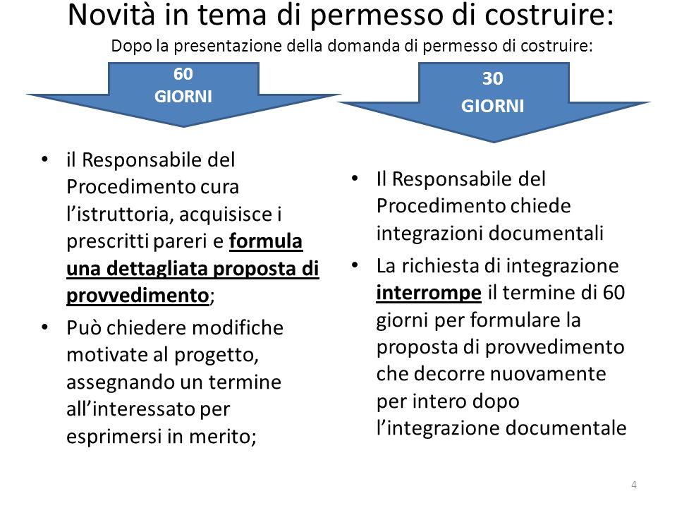 Novità in tema di permesso di costruire: il Responsabile del Procedimento cura listruttoria, acquisisce i prescritti pareri e formula una dettagliata