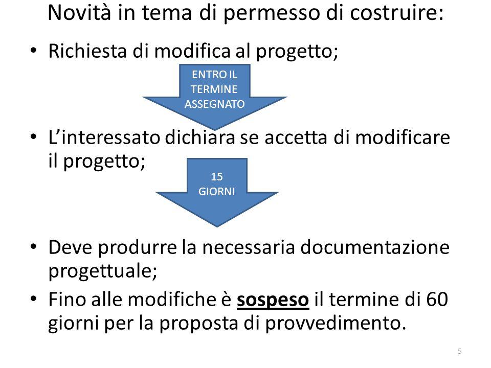 Novità in tema di permesso di costruire: Richiesta di modifica al progetto; Linteressato dichiara se accetta di modificare il progetto; Deve produrre
