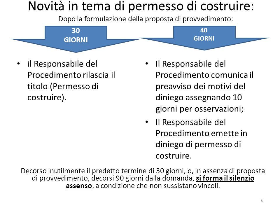Novità in tema di permesso di costruire: il Responsabile del Procedimento rilascia il titolo (Permesso di costruire). Il Responsabile del Procedimento