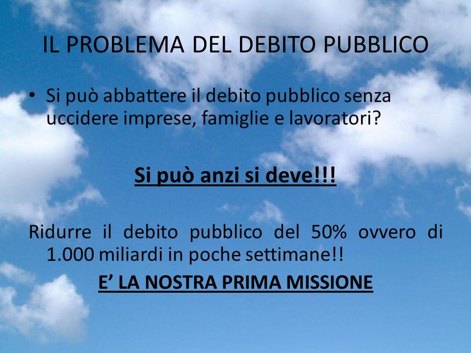 IL PROBLEMA DEL DEBITO PUBBLICO Si può abbattere il debito pubblico senza uccidere imprese, famiglie e lavoratori.