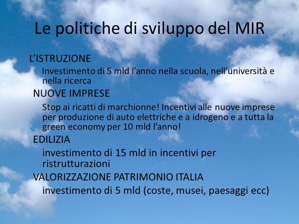 Le politiche di sviluppo del MIR LISTRUZIONE Investimento di 5 mld lanno nella scuola, nelluniversità e nella ricerca NUOVE IMPRESE Stop ai ricatti di marchionne.