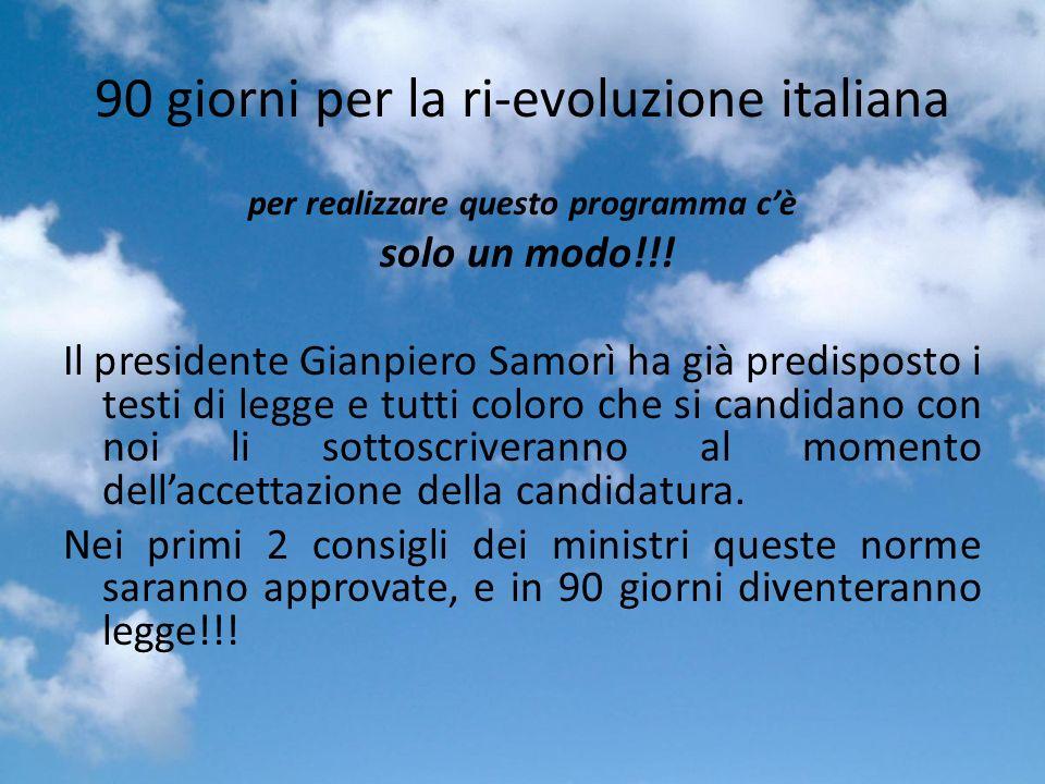 90 giorni per la ri-evoluzione italiana per realizzare questo programma cè solo un modo!!.