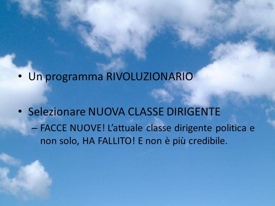 Un programma RIVOLUZIONARIO Selezionare NUOVA CLASSE DIRIGENTE – FACCE NUOVE.