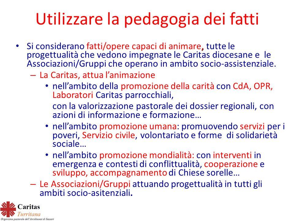 Utilizzare la pedagogia dei fatti, Si considerano fatti/opere capaci di animare, tutte le progettualità che vedono impegnate le Caritas diocesane e le Associazioni/Gruppi che operano in ambito socio-assistenziale.