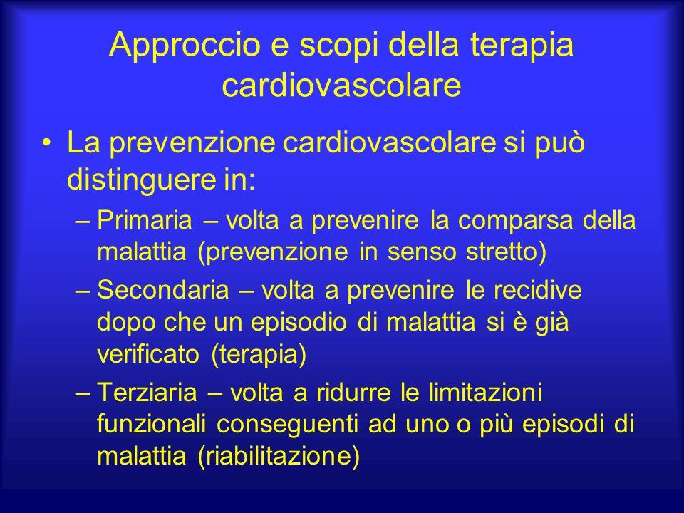 Approccio e scopi della terapia cardiovascolare La prevenzione cardiovascolare si può distinguere in: –Primaria – volta a prevenire la comparsa della