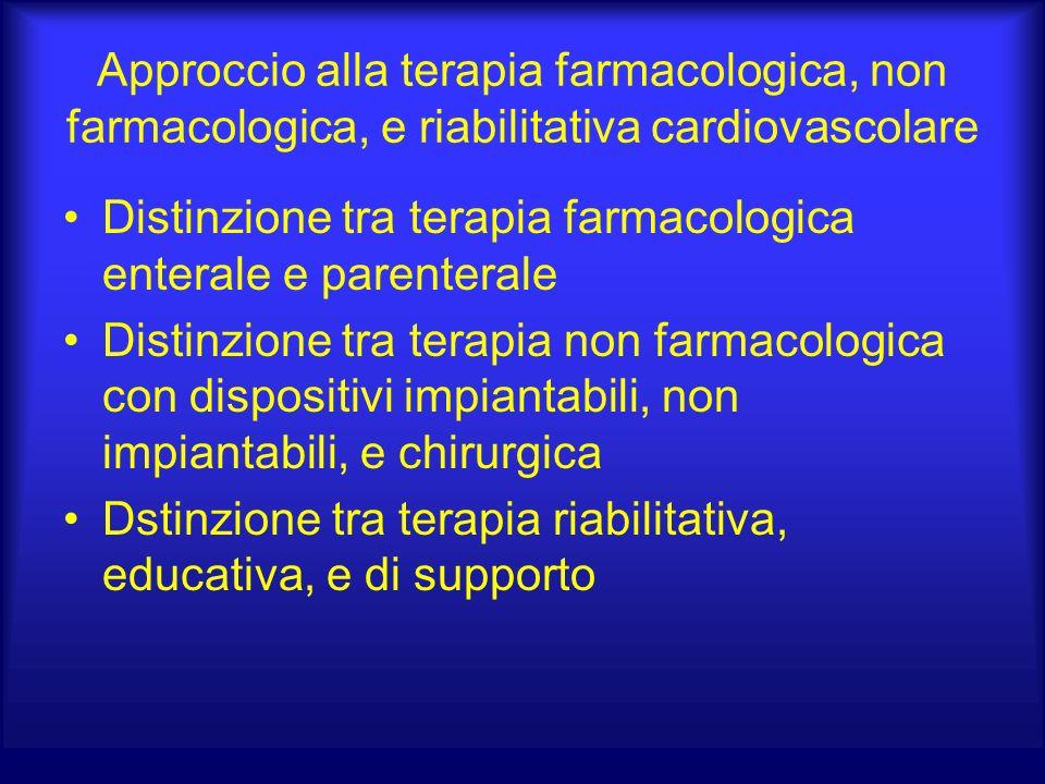 Approccio alla terapia farmacologica, non farmacologica, e riabilitativa cardiovascolare Distinzione tra terapia farmacologica enterale e parenterale Distinzione tra terapia non farmacologica con dispositivi impiantabili, non impiantabili, e chirurgica Dstinzione tra terapia riabilitativa, educativa, e di supporto