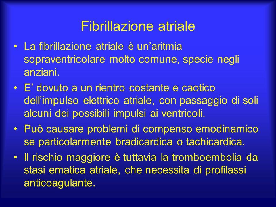 Fibrillazione atriale La fibrillazione atriale è unaritmia sopraventricolare molto comune, specie negli anziani. E dovuto a un rientro costante e caot