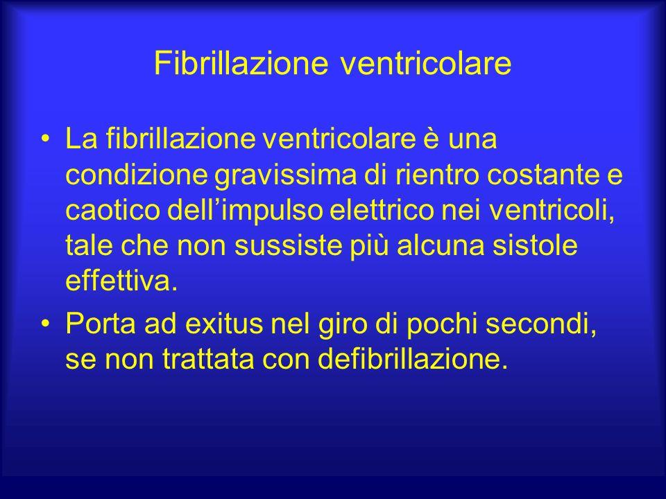 Fibrillazione ventricolare La fibrillazione ventricolare è una condizione gravissima di rientro costante e caotico dellimpulso elettrico nei ventricoli, tale che non sussiste più alcuna sistole effettiva.