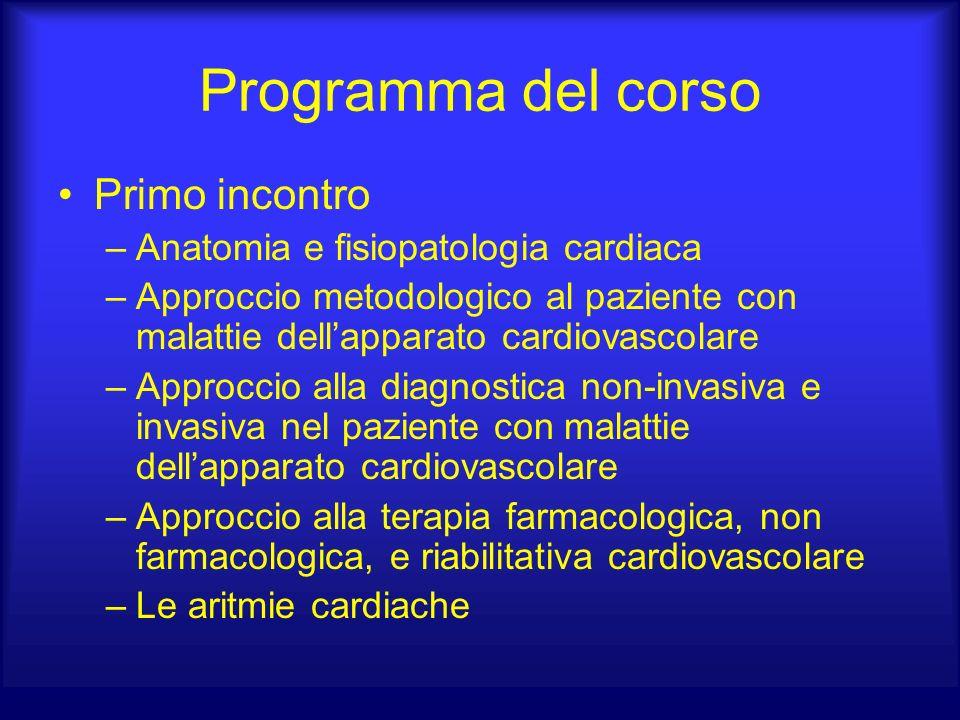 Programma del corso Primo incontro –Anatomia e fisiopatologia cardiaca –Approccio metodologico al paziente con malattie dellapparato cardiovascolare –
