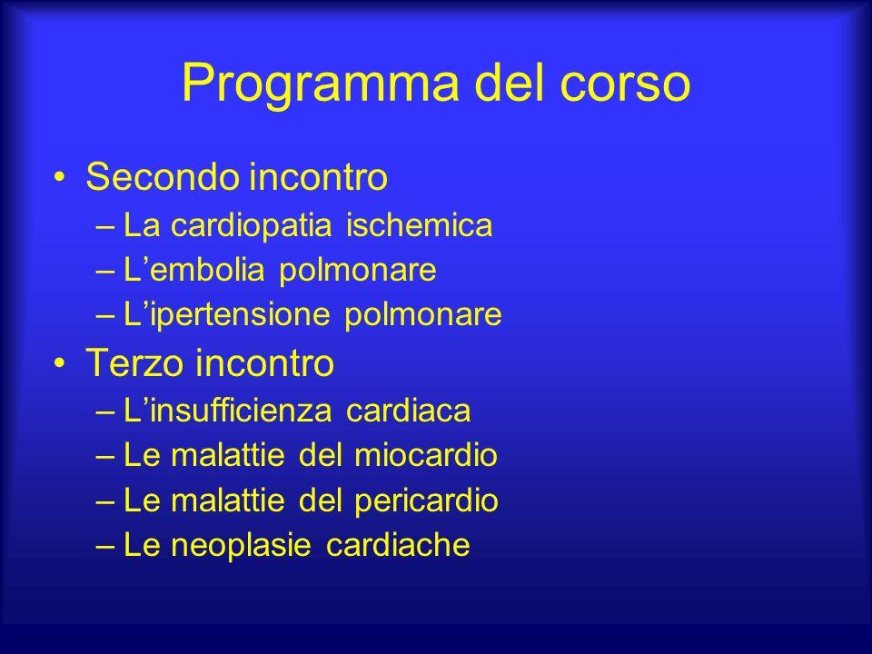 Programma del corso Secondo incontro –La cardiopatia ischemica –Lembolia polmonare –Lipertensione polmonare Terzo incontro –Linsufficienza cardiaca –L
