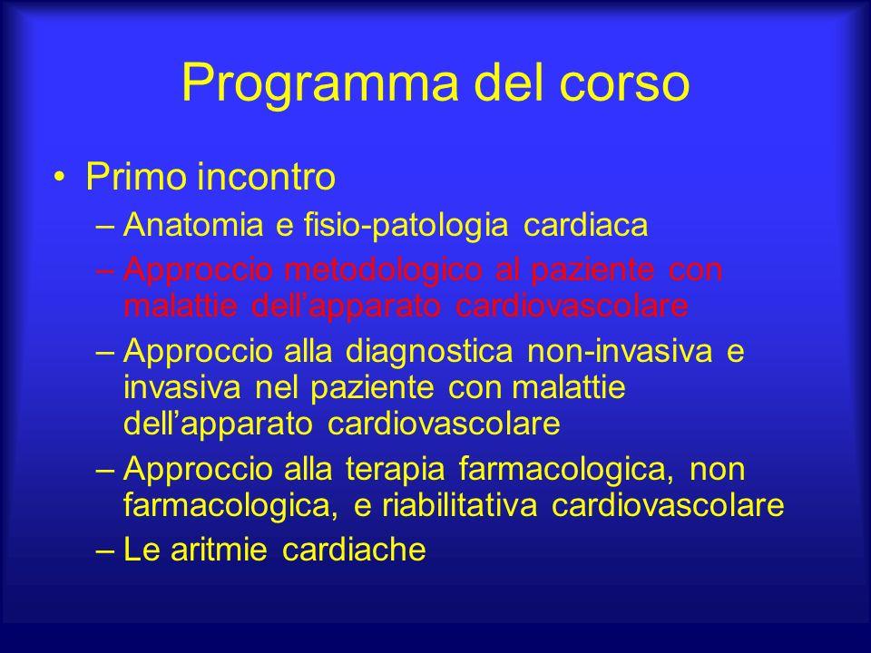 Programma del corso Primo incontro –Anatomia e fisio-patologia cardiaca –Approccio metodologico al paziente con malattie dellapparato cardiovascolare