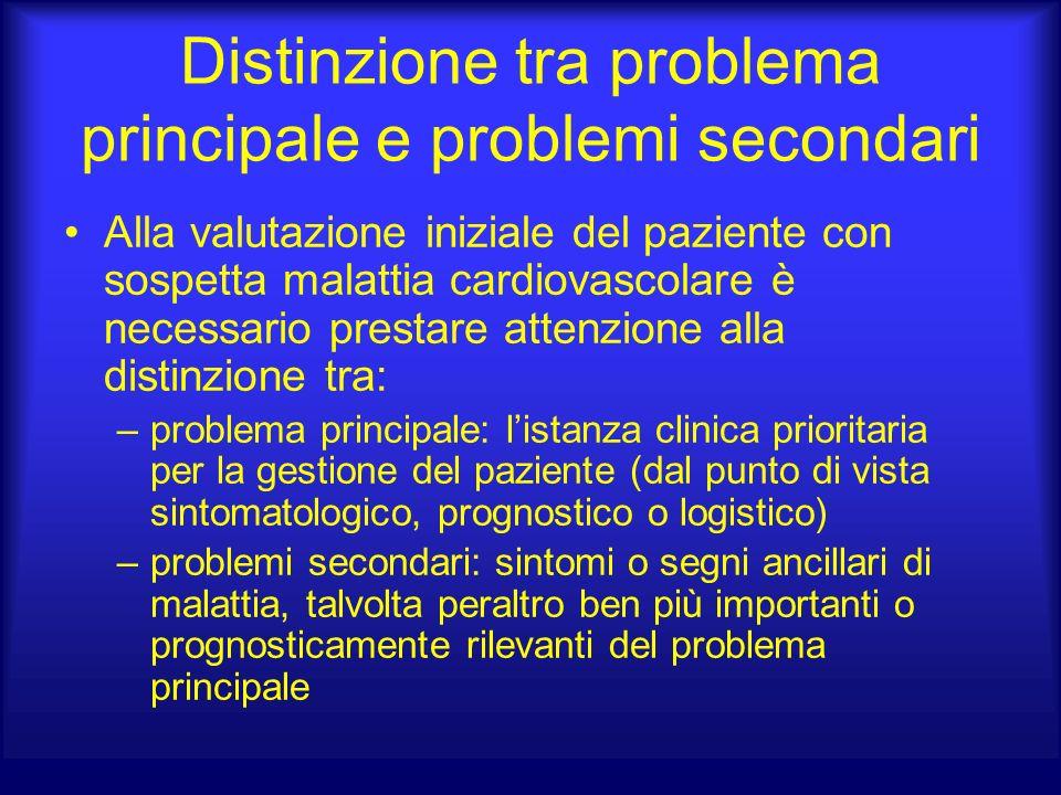 Distinzione tra problema principale e problemi secondari Alla valutazione iniziale del paziente con sospetta malattia cardiovascolare è necessario pre